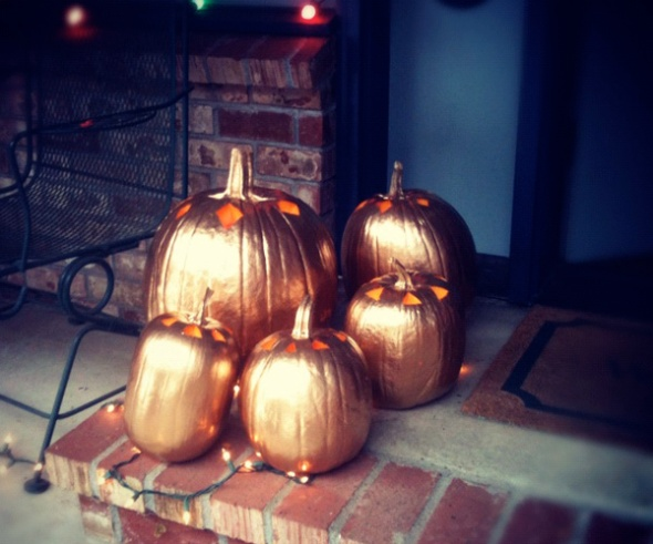 gold pumpkin lanterns
