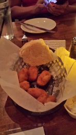Biscuits and hushpuppies.