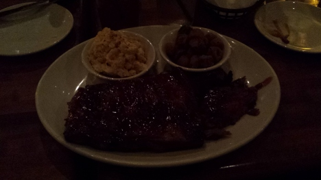 My tasty dinner of ribs and fried okra.