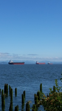 Big ship and little ship that we saw during our lunch stop on the way home.